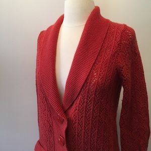 Red cardigan jacket by Sparrow